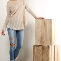 Flowy Natural Long Sleeve Rib Knit Lace Top