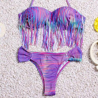 tassel striped bikini