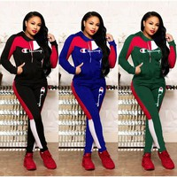 Champion Fashionable Women Stitching Color Long Sleeve Hoodie Top Pants Set Two-Piece