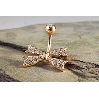 Rose Gold Bow Belly Button Ring