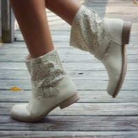 Last Stand Beige Cutout Ankle Boot