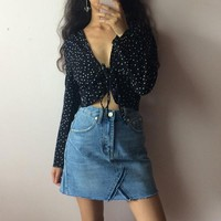 Casual Retro French style sexy V-necked small star shirt
