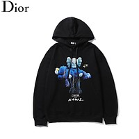 DIOR Fashion New Bear Bee Print Women Men Leisure Hooded Long Sleeve Sweater Black
