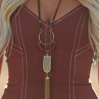 Stay Away Stone Drop Necklace (Gold/Rust)
