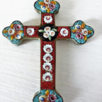 Antique Italian, Micro Mosaic, Cross, SHIPPING INCLUDED