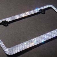 Bling 7 Rows White/Clear (C-Style Screw Cap) Crystal Metal Chrome License Plate Frame.