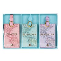 Last Call! Travel, Explore, Wander Map Luggage Tag (Set of 3)