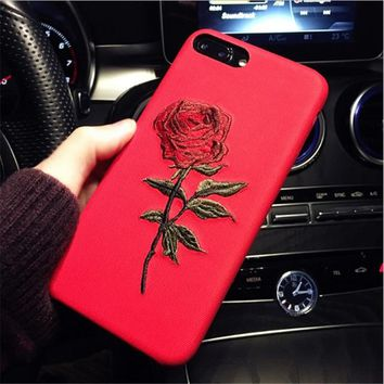 Embroidery Flowers Phone Case