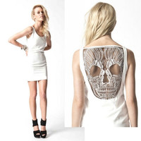 New Novelty Ladies SKULL Lace Open Back One piece Mini Dress! Premonition Movie Star Celeb Dresses, Hot Plus size Sundress = 1958150788