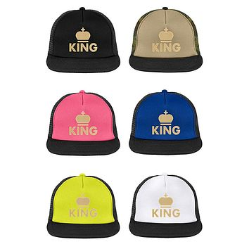 King or Queen, Gold or Silver Crown Graphic Printed Two Tone Flat Bill Snapback Fashion Trucker Caps for Men & Women