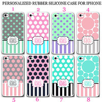 PERSONALIZED MONOGRAM MINT PINK POLKA DOT STRIPE RUBBER CASE For iPhone 6S 6 SE