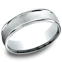 "Benchmark 6MM ""Wire Finish"" Center Comfort Fit Wedding Band"