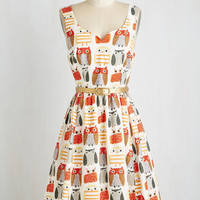 Owls Mid-length Sleeveless A-line Quirk Things Out Dress
