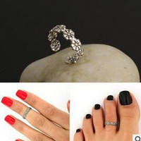 Women Lady Elegant Adjustable Antique Plated Silver Metal Toe Ring Foot Beach Jewelry R108