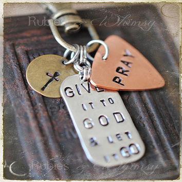 Give it to God & Let it Go Keychain, Purse Charm, Christian Gift, Gift for Missionary, Inpirational Purse Charm,  Adoption, Christian Gift