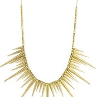 Gold Metal Spike Necklace -