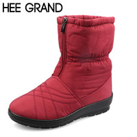 HEE GRAND Plus Size Waterproof Flexible Cube Woman Boots High Quality Cozy Warm Fur Inside Snow Boots Winter Shoes Woman XWX3375