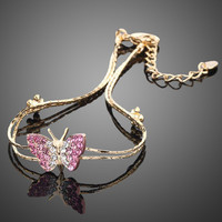 Pink Crystal Butterfly and Flower Bracelet