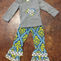 Girls Damask & Polka Dot Heart Frills Outfit {Grey}