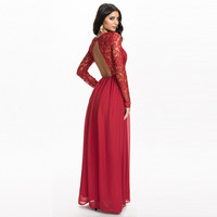 Black and Red Backless Maxi Dress with Lace Upper