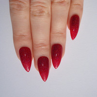 Holographic Red Stiletto nails, Nail designs, Nail art, Nails, Stiletto nails, Acrylic nails, Pointy nails, Fake nails