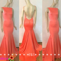Sexy Open Back Evening Dress, Coral Backless Evening Prom Dress, 2014 Affordable Mermaid Long Satin Gown, Simple Mermaid Evening Gown 2014