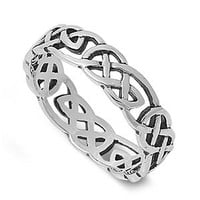 Celtic Wicca Pagan Eternity Ring Sterling Silver 925 Size 7