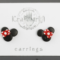 Disney Minnie Mouse with Ribbon Bow Stud Earrings Handmade Polymer Clay by Krafciarka