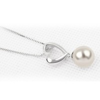 Rhodium Plated Alloy Pendant Necklace:Pearl and Heart Color White