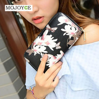 Leather Wallet For Women 4 Colors Floral Printing Wallet Long Lady Delicate Clutch Coin Purse Card Holder Carteras Mujer