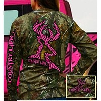 Country Life Outfitters Pink Bone Realtree Camo Zebra Deer Long Sleeve  T-Shirt