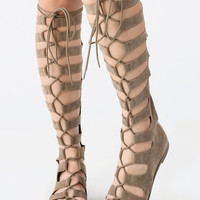 Lace Up Gladiator Sandals - Tan