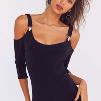 Silence + Noise Jazzy Knit Cold-Shoulder Romper   Urban Outfitters