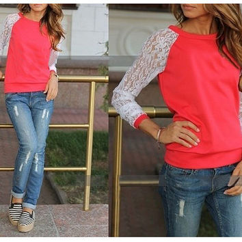 Lace Long Sleeve Sweater