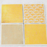 Retro Tile Coasters  in Mustard Yellow and Tan Theme with Foamed Backs (4)