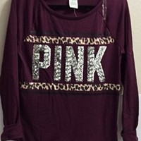 VICTORIA'S SECRET Pink Long- Sleeve Raglan Tee W/Pink logo bling Sequin -Burgundy -size XS/TP