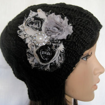Black Cable Knit Beanie  with Black and White  Shabby Frayed Chiffon Flowers and  Faux Pearl and Rhinestone Accent