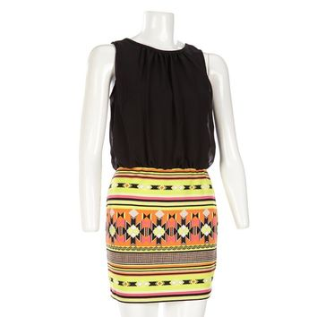 Chiffon Top w Aztec Skirt Jr 283651670 | Casual | Dresses | Juniors | Burlington Coat Factory