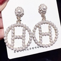 Hermes Fashion New More Pearl Long Earring Jewellery Women Silver