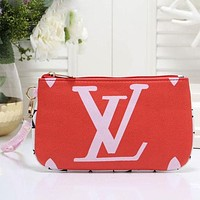 Louis Vuitton LV Fashion Women Leather Tote Clutch Bag Wristlet Handbag Red