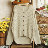 Womens New Arrival Cardigans Twist Batwing Sleeves Pink Apricot Knit Sweaters