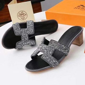 """Hermes Popular Women Personality """"H"""" Letter Heels Shoes Sandals Slippers Grey I"""