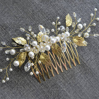 Gold hair comb, Pearl hair comb, Gold Leaf Hair Comb, Wedding Hair Piece, Bridal Headpiece, wedding pearl hair jewelry, bridal hair piece