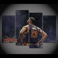 4 Panel Cleveland Cavaliers Lebron James Framed Wall Canvas | Octo Treasures