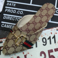 GUCCI Summer new pointed flat more letter print red and green stripe denim sandals slippers women Beige