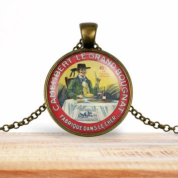 Vintage product label photo pendant - Camembert Le Grand Bougnat- foodie necklace, francophile necklace