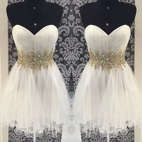 White Strapless Homecoming Dress,Chiffon Homecoming Dresses With Crystal Beadings