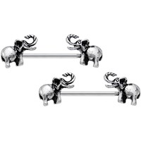 """14 Gauge 3/4"""" Stainless Steel Lucky Elephant Ends Barbell Nipple Ring Set"""