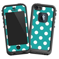 White Polka Dot on Turquoise Skin for iPhone 5 Lifeproof Case