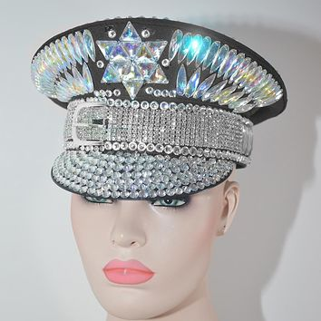 Holographic Crystal Military Hat